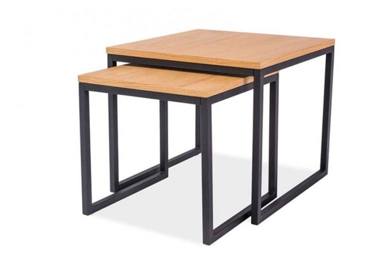 Комплект SIGNAL LARGO DUO (2 стола журнальных) дуб\черный