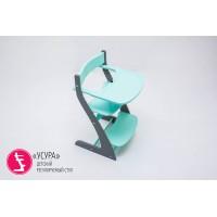 Детский растущий регулируемый стул Усура графит-мятный