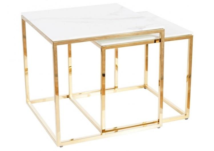 Комплект Signal GLORIA, 2 стола журнальных (эффект белого мрамора/золотой)