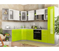 Кухня ДСВ Мебель Вариант фасада Капля Белый металлик/Лайм глянец