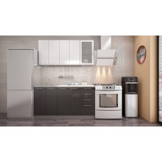 "Кухня ""Олива"" белый/черный металлик 1,6м"