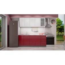 """Кухня """"Олива"""" верх белый металлик /низ гранат металлик 2,0 м"""