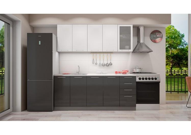 Кухня Интерьер-центр София верх белый металлик /низ черный металлик 2,0 м