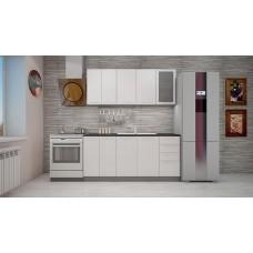 """Кухня """"Олива""""  белый  металлик  1,8 м."""