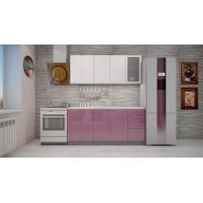 "Кухня ""Олива"" верх белый металлик/низ сирень металлик  1,8 м."