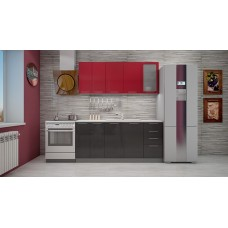 "Кухня ""Олива"" верх гранат металлик/низ черный металлик  1,8 м."