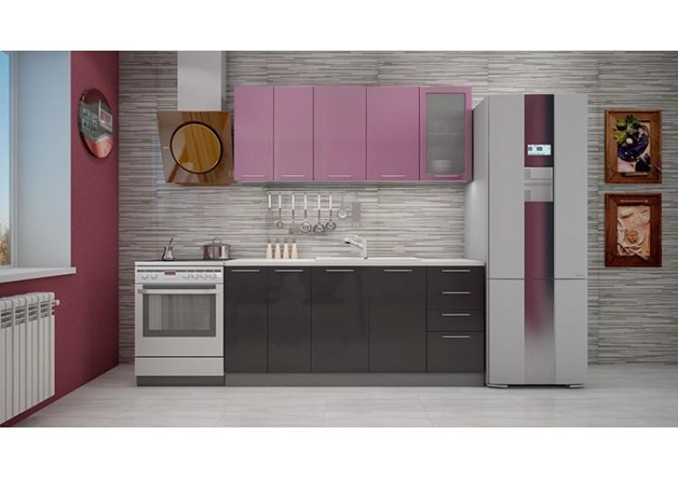 """Кухня """"Олива"""" верх сирень металлик/низ черный металлик  1,8 м."""