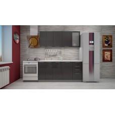 """Кухня """"Олива""""  черный металлик  1,8 м."""