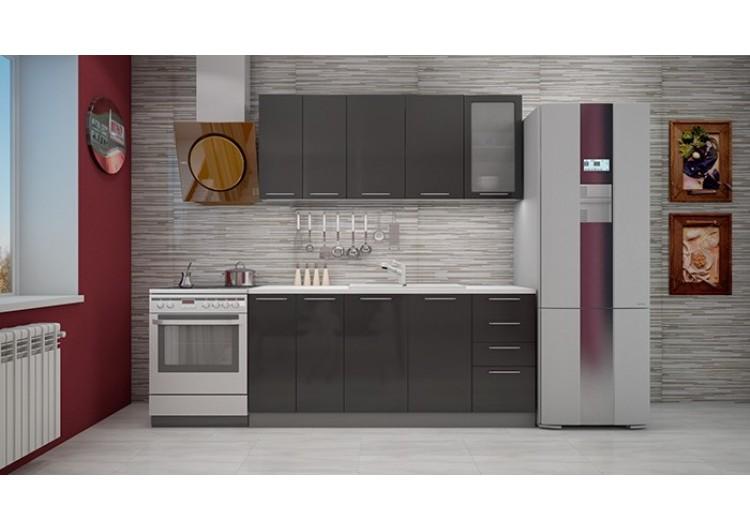Кухня Интерьер-центр София черный металлик 1,8 м.
