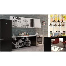 Кухня Интерьер-центр Чикаго Coffe time верх белый/ низ черный 1,8 м