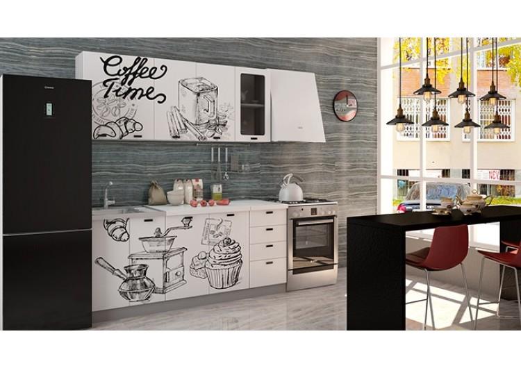 """Кухня """"Олива""""   Coffe time  белый  1,8 м"""