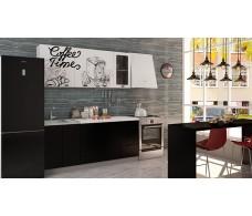 Кухня Интерьер-центр Чикаго верх Coffe time белый / низ черная шагрень 1,8 м