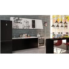 "Кухня ""Олива""  верх Coffe time белый / низ черная шагрень 1,8 м"