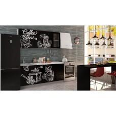 """Кухня """"Олива""""   Coffe time  черный  1,8 м"""