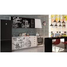 Кухня Чикаго   Coffe time  верх черный/ низ белый 1,8 м