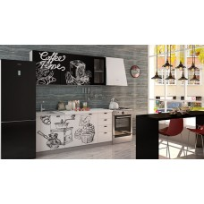 Кухня Интерьер-центр Чикаго Coffe time верх черный/ низ белый 1,8 м
