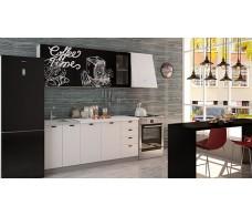 Кухня Интерьер-центр Чикаго верх черная шагрень Coffe time / низ белая шагрень 1,8 м