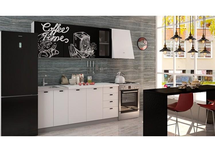 "Кухня ""Олива""  верх  черная шагрень Coffe time / низ белая шагрень  1,8 м"