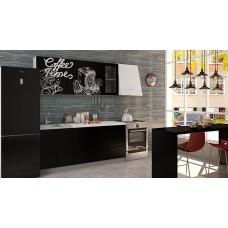 Кухня Интерьер-центр Чикаго верх черная шагрень Coffe time / низ черная шагрень 1,8 м