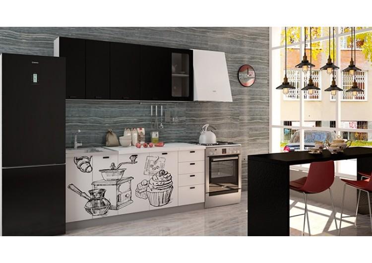 "Кухня ""Олива""  верх  черная шагрень / низ белая шагрень Coffe time   1,8 м"