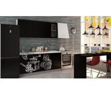 Кухня Интерьер-центр Чикаго  верх  черная шагрень / низ черная шагрень Coffe time   1,8 м