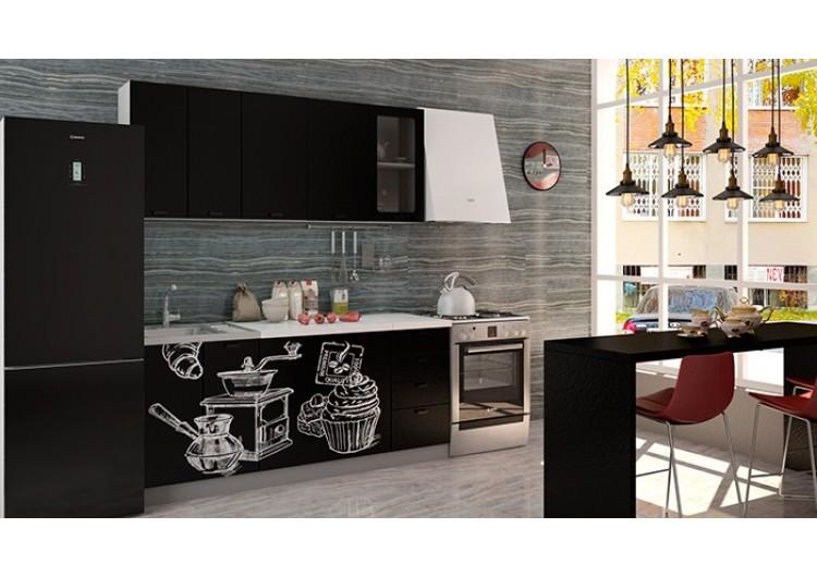 "Кухня ""Олива""  верх  черная шагрень / низ черная шагрень Coffe time   1,8 м"
