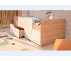 Кровать Интерьер-центр Умка К-001 Белый глянец / Дуб сонома