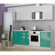 Кухня София 3D ( Белый/ бирюза) 2,1 м