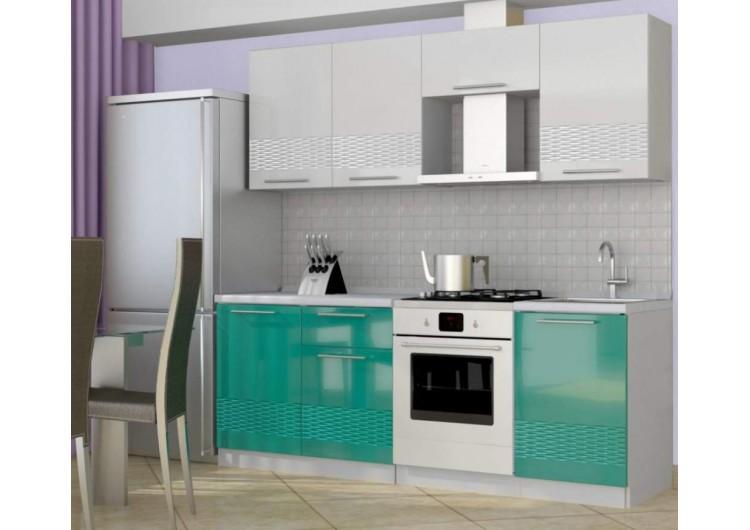 Кухня Интерьер-центр София 3D ( Белый/ бирюза) 2,1 м