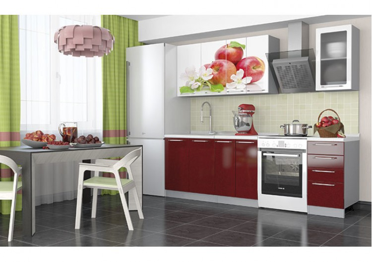 """Кухня """"София"""" Красные яблоки 1,8 м."""