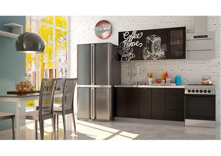 Кухня Интерьер-центр Чикаго черная Coffe time / черная шагрень 1,6 м