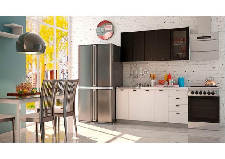 Кухня Чикаго черная / белая шагрень 1,6 м