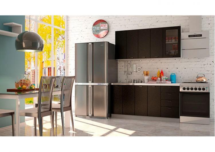 "Кухня ""Олива""  черная шагрень 1,6 м"