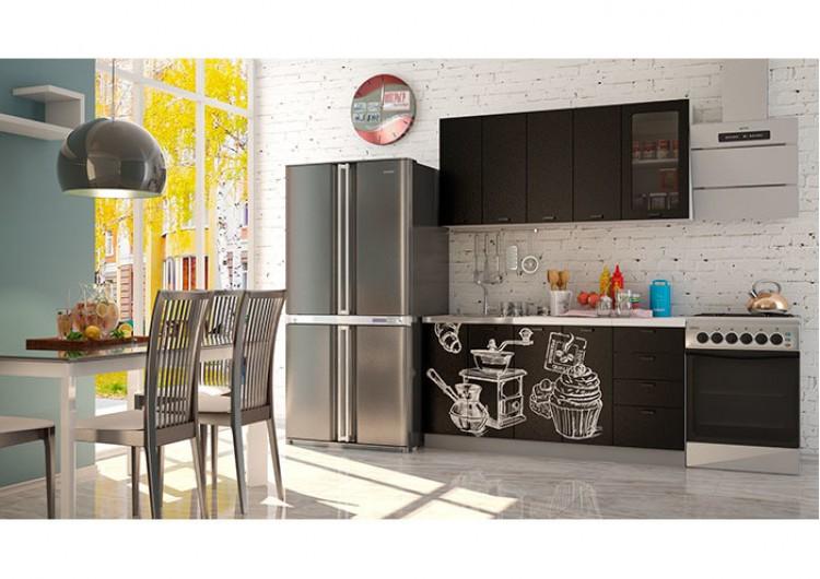 Кухня Интерьер-центр Чикаго черная шагрень / черная Coffe time 1,6 м