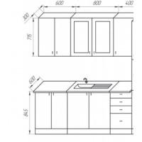 Кухня Интерьер-центр София 3D ( Белый/ бирюза) 1,8 м