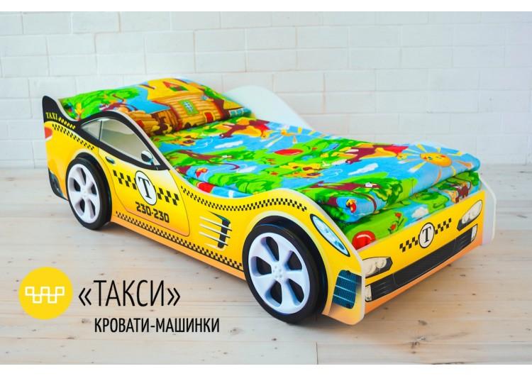 Детская кровать-машина «Такси» в комплекте с матрасом Дельта
