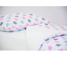 Детское постельное белье Звезды графит, лаванда, бирюза