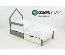 Детская кровать-домик мини  Svogen  графит-белый