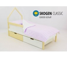 Детская кровать-домик мини  Svogen бежево-белый