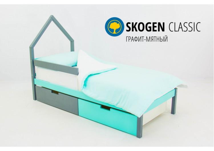 Детская кровать-домик мини Svogen графит-мятный