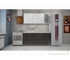 Кухня Интерьер-центр София верх белый металлик/низ черный металлик 1,8 м.