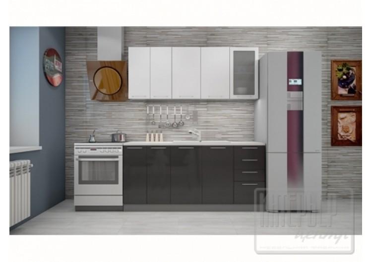 "Кухня ""София"" верх белый металлик/низ черный металлик  1,8 м."