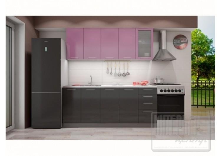 Кухня София верх сирень металлик /низ черный металлик 2,0 м